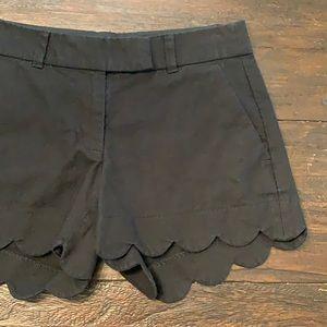 J.Crew Black Linen Blend Scalloped Edge Shorts